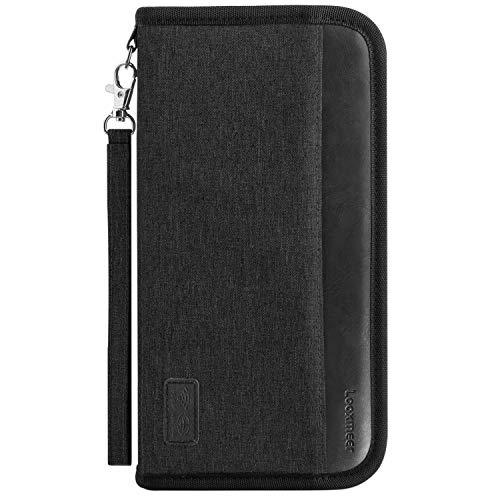 Looxmeer Reisepass Tasche Familie Reiseorganizer mit RFID-Blocker, Tragbare Reisepasshülle Ausweistasche für Damen und Herren, Ganz Schwarz