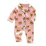 Julhold - Pijama de manga larga con diseño de oso de dibujos animados y pantalones de algodón para bebé de 1 a 5 años Rosa rosa 24 meses
