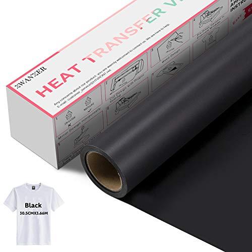 Zwanzer Flexfolie,30.5cm× 3.66m Plotterfolie Textil für Cricut und Silhouette Cameo,Verwendet in T-Shirt-Kleidung und Anderen Stoffen (Schwarz)