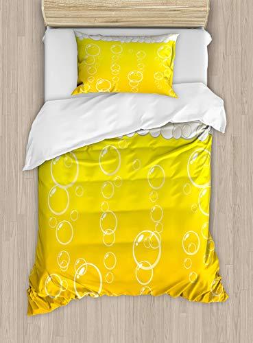 ABAKUHAUS Abstract Dekbedovertrekset, Bellen van het bier Macro, decoratieve 2-delige bedset met een siersloop, Geel Wit