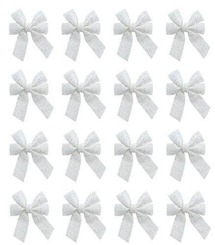 DARO DEKO Glitzer Schleife 13 x 17cm - 16 Stück Weiß glänzend reflektierend