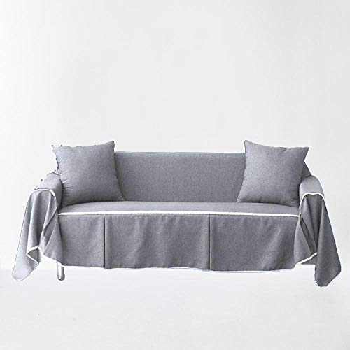 GQPLI Dust Resistant Sofa Protector Anti,1/2/3/4 Seater Pure Color Sofa,Pure color fabric sofa cover, full cover sofa towel, dustproof furniture cover-light gray_215*300cm (85 * 118in)