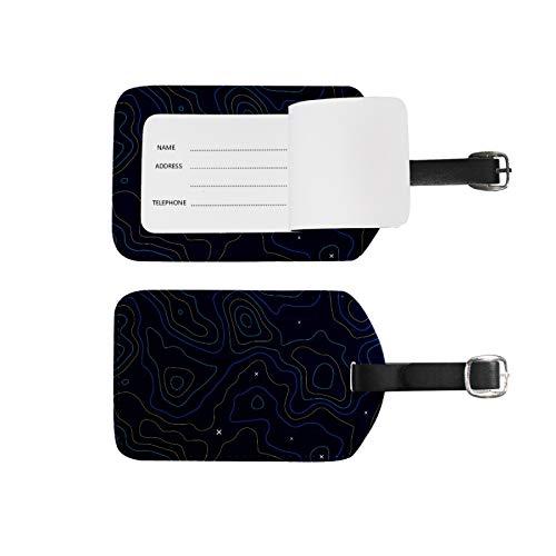 Etiquetas de equipaje, soporte para nombre de dirección, 2 unidades de etiquetas de identificador portátil, bolsa de tarjetas, decoración de equipo de viaje, Topographicmap azul para maletas bolsas