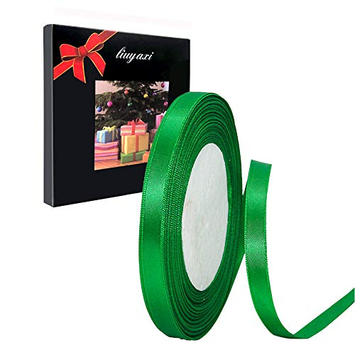 Solid Color Green Satin Ribbon 1/4 inch X 25 Yard, Ribbons Perfect for Crafts, Hair Bows, Gift Wrapping, Wedding Party Decoration and More