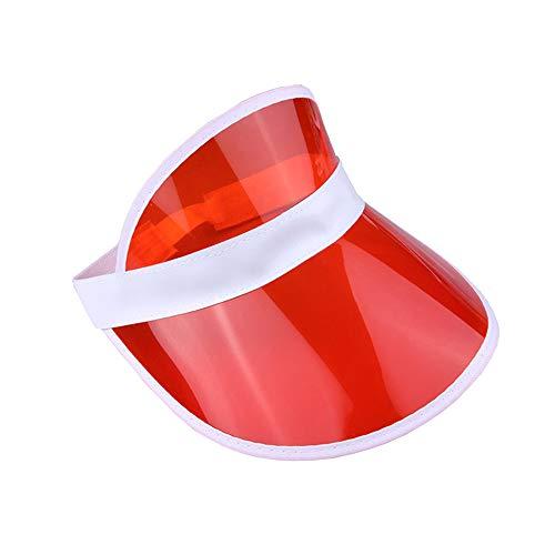 Unisex 80er Jahre Retro Neon Sonnenblende Hut Stirnband Cap Golf Tennis Hirsch Poker Party Gr. One size, rot