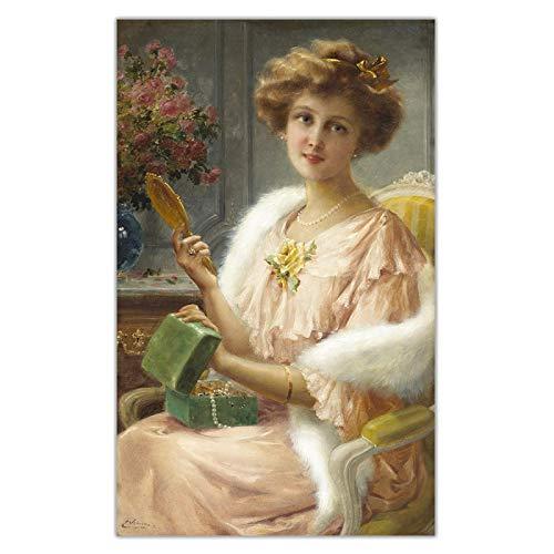エミール・ヴァーノン《鏡のあるお嬢様》キャンバス絵画アートワーク複製写真リビングルーム装飾用30x50cmフレームレス