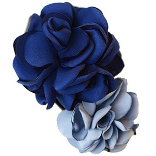 Mixte clip coloré Simulation Fleur Rose Cheveux épingle Fleur Coiffe(bleu)