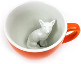 CREATURE CUPS Fox Ceramic Cup (11 Ounce, Red Orange)   Hidden Animal Inside   Holiday and Birthday Gift for Coffee & Tea Lovers