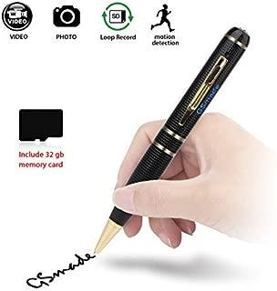 GSmade Spy Pen Hidden Camera - Full HD 2K Spy Pen Camera 32GB HD Video Pen - Hidden Surveillance Pen Cam