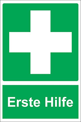 Erste-Hilfe-Zeichen - Selbstklebender Aufkleber 200mm x 150mm