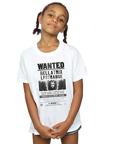 HARRY POTTER niñas Bellatrix Lestrange Wanted Camiseta 12-13 Years Blanco