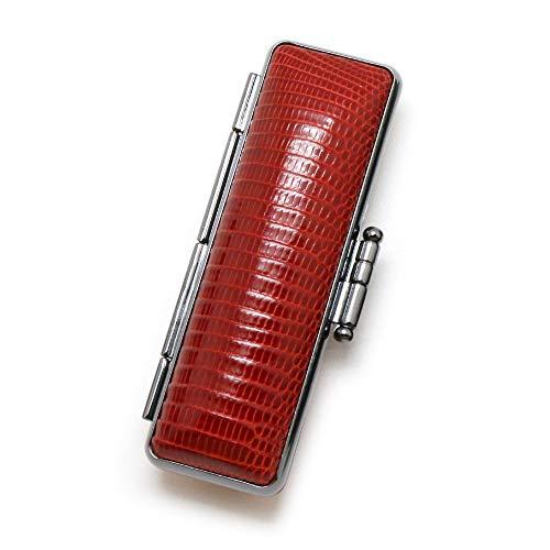 とかげ革 印鑑ケース 16.5−18.0ミリ用 明茶/印鑑ケース 銀行印 実印 おしゃれ 朱肉付 はんこケース 送料無料