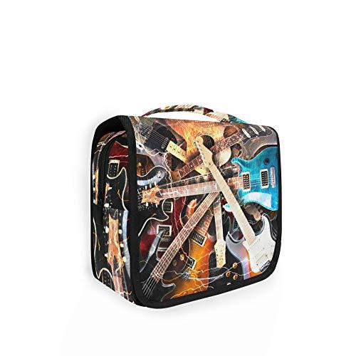 RELEESSS - Neceser de viaje para guitarra eléctrica musical, organizador de maquillaje, bolsa de lavado