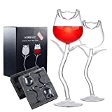HOMEACC Rose Wine Glass Set of 2,Creative Rose Flower Goblet Glasses for Party Kitchen Bar Celebration,Hand Blown Crystal Cocktail Wine Juice Goblet 180ml Red Wine Glasses Gifts