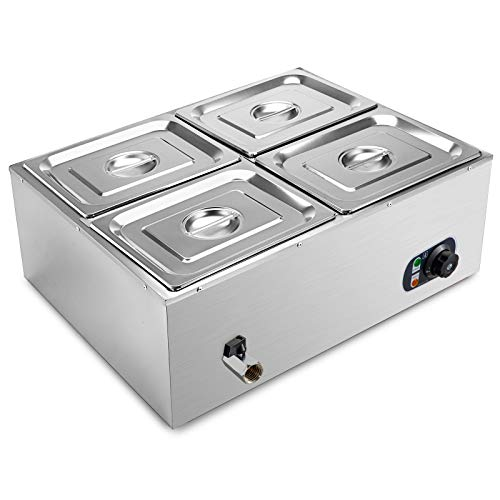 VEVOR 110V 4-Pan Commercial Food Warmer, 1200W Electric Steam Table 15cm/6inch Deep, Professional Stainless Steel Buffet Bain Marie 44 Quart for Catering and Restaurants