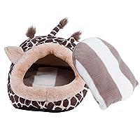 iFCOW ハムスターハウス ペットハンモック 動物の形 冬用 暖かい 寝床 保温 寒さ対策 ポケットベッド(キリン L)