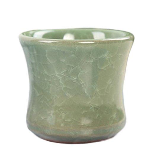 1 x Toruiwa Pot de fleurs en céramique Plante Pot de fleurs Vase plantes artificielles conteneurs balcon de jardin Pot de fleurs décoration de table Décorations Craft Accessoires de jardinage 6.5*5.6 cm, Céramique, Green, 6.5*5.6cm