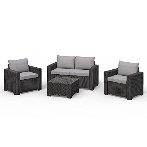 Koll Living San Diego Loungeset, antraciet, tuinmeubelen in open rotan-look, extra dikke zit- en rugkussens, meubelset bestaande uit bank, 2 stoelen en tafel, UV-bestendig