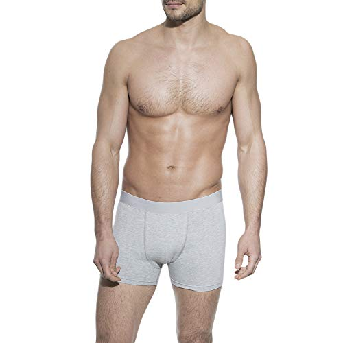 Bread and Boxers Men's Classic Stretchy Cotton Boxer Brief Underwear, Grey Melange, X-Large