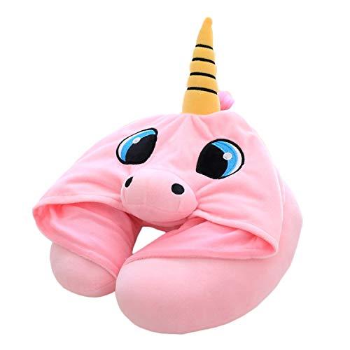 Lironheel Unicorn Cartoon Durable U Shaped Pillow Memory Foam Neck Headrest Dot Car Flight Travel Soft Nursing Cushion Pillow