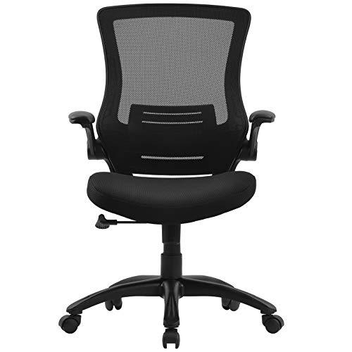 ADFBL - Sedia da ufficio regolabile per schienale e schienale girevole, con braccio ribaltabile, scrivania per computer