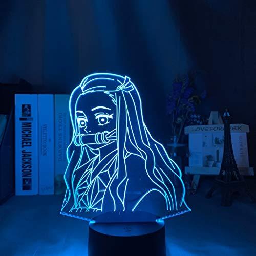 Kimetsu No Yaiba Nezuko Kamado Figur LED Nachtlicht für Schlafzimmer Dekor Nachtlicht Kinder Kind Tisch 3d Lampe Demon Slayer Geschenk, 7 Farben keine Fernbedienung