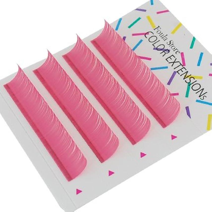 オピエート応用ファッション【Foula】カラーエクステ 4列シート ピンク Dカール 0.10mm×11mm