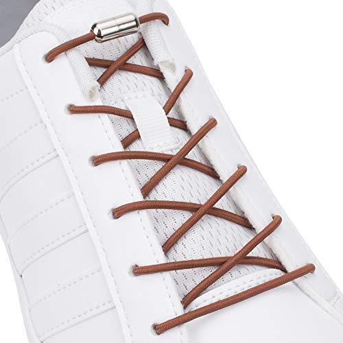 SULPO Elastische Schnürsenkel mit Metallverschluss – Ohne Binden – Silikonschnürsenkel S009 (Braun)