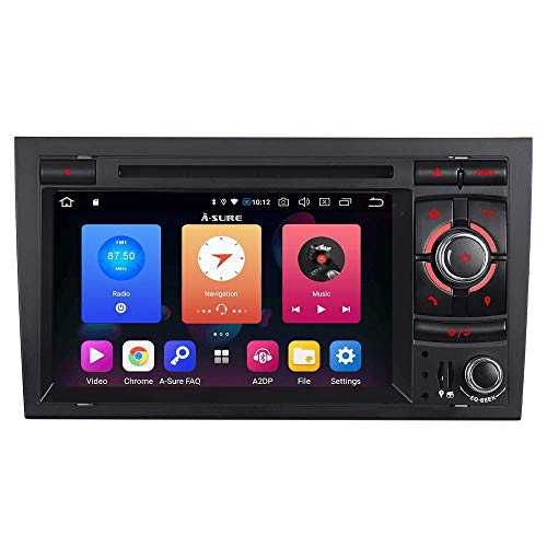 "Android 9.0 Autoradio 7"" LCD 32GB Auto Radio DVD GPS Navigation CD DAB+ OBD2 4G LTE WiFi mirrorlink für Audi A4/S4/RS4 (2002-2007) Seat Exeo (2009-2012) (Unilaterale Taste)"