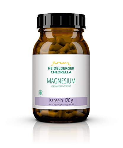 Heidelberger Chlorella – Magnesium als Magnesiumcitrat Kapseln, organische und reine Form, vegan, hochdosiert, gute Bioverfügbarkeit, hergestellt in Deutschland, 120 g, 200 Kapseln
