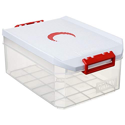 Sanixa TA1150210 Medizinbox Klickverschluss transparent Erste Hilfe Box Aufbewarhungskiste Medikamente Arzneimittelbox Aufbewahrungsbox Hausapotheke