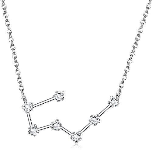 Sllaiss Collar con signo del zodiaco del horóscopo de plata de ley 925 para mujer collar con colgante de 12 constelaciones collar de astrología de circonita cúbica