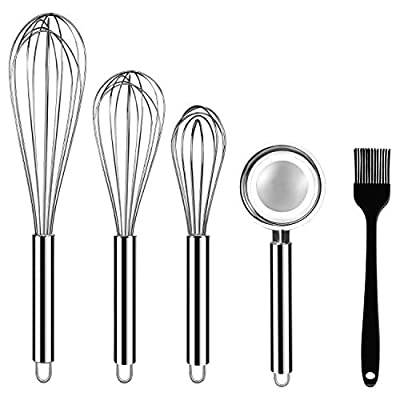 """Stainless Steel Whisks, ONME 3 Pack Kitchen Whisks with Stainless Steel Egg Separator and Silicone Cooking Brush, 8"""" 10"""" 12"""" Balloon Wire Whisk for Blending, Whisking, Beating, Stirring, Set of 5"""