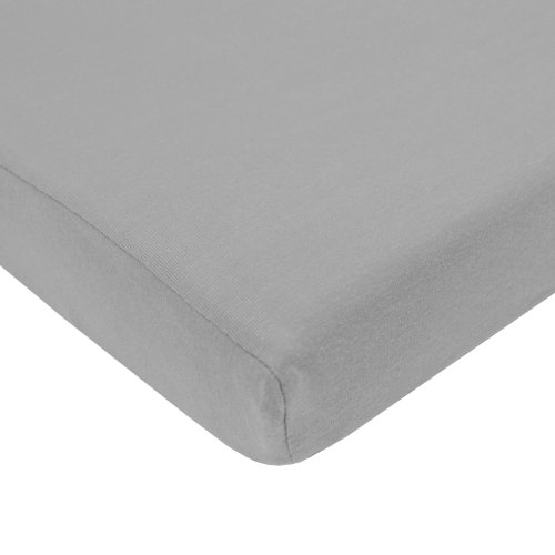 Image of American Baby Company 100% Natural Cotton Value Jersey Knit Fitted Pack N Play Playard Sheet, Gray, Soft Breathable, for Boys and Girls