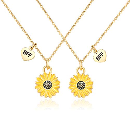 Shonyin BFF Sunflower Necklace for 2 Women Best Friend Friendship Matching Necklaces Together Forever Dainty Jewelry Gifts for Teens Girls, 18.5+2 Inch