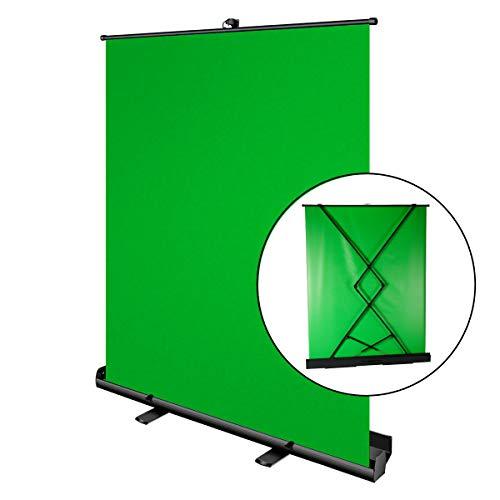 Pantalla Croma Verde, Portatil de 180 x 148cm, Luxscreen Chromakey Plegable para Eliminación del Fondo Croma, con Ajuste desplegable, Tejido Verde Chroma Antiarrugas, Estuche de Aluminio