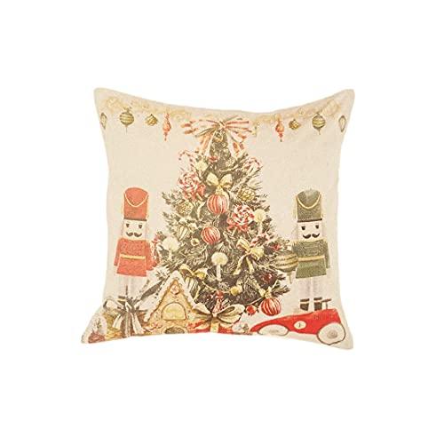 Blanc Mariclo Cojín de decoración navideña cuadrado de Carol de...