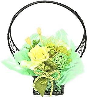 【NICHIFLRO】ニチフロ プリザーブドフラワー 和風 敬老の日 枯れない花 フラワーアレンジ 日本製 花音 (グリーン, プリザーブドフラワー)