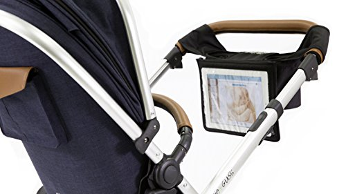 guzzie+Guss Parent Stroller Media Console, Fits Most Stroller Handles, Features Two Insulated Cup-Holders, A Centered Storage Compartment, A Front Tactile Pocket, & A Removable Tablet Holder, Black