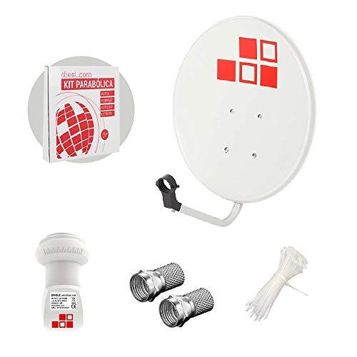 Diesl.com - Kit Antenas parabólicas de televisión satélite Digital - 50cm + LNB + Conectores + 10x Bridas