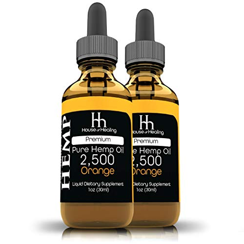 House of Healing Hemp Oil for Pain Relief - (2 Pack) 2500mg - 5,000mg Total - Hemp Oil - May Help with Sleep, Mood, Stress - Hemp Extract - Rich in Omega 3,6,9 - Orange Flavor