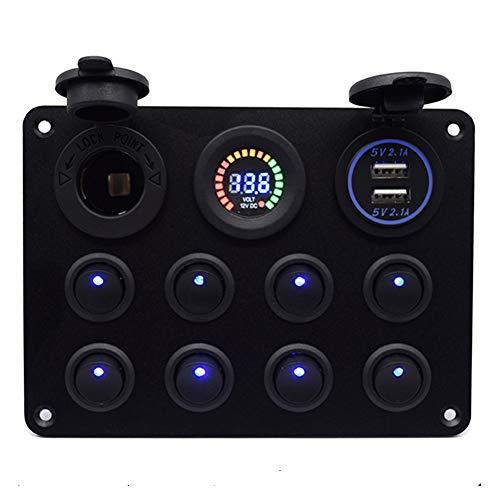 TONGDAUR 12 V Control Interior Interruptor Rocker Panel Pantalla Digital Coche Barco Led Protección contra sobrecarga Dual USB 8 Gang