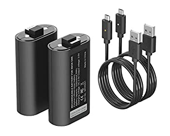 ElecGear Lithium ion Battery Pack for Xbox One Controller 2X 1200mAh Li-ion Rechargeable Battery Play and Charge Kit for Xbox One One S One X Elite Controller with 2X Data and Charging USB Cable
