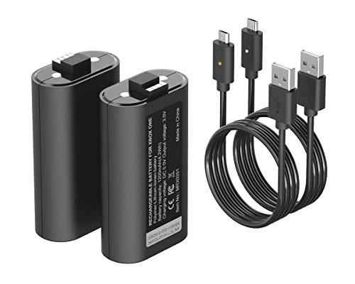 ElecGear Batteria al Litio Ricaricabile per Controller Xbox, 2x 1200mAh Lithium Rechargeable Battery Kit Play e Charge per Xbox Series X/S, Xbox One, Elite Controller con 2x Cavo di Ricarica USB