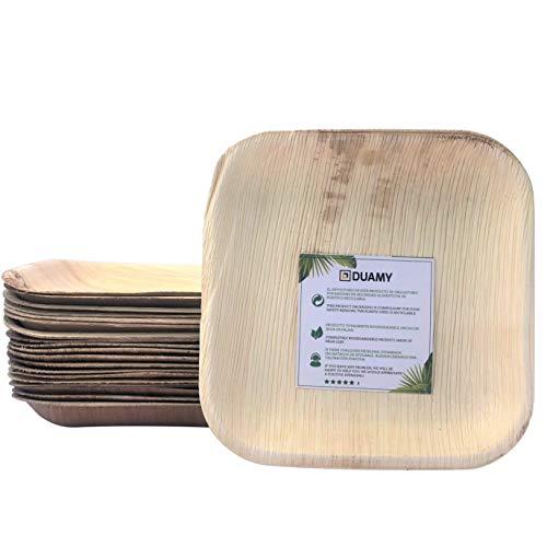 Platos cuadrados de hoja de palma desechables. 20 platos biodegradables 18*18 cm. Vajilla ecológica para eventos, bodas, cumpleaños… 100 % fabricados con materiales naturales, sin químicos abrasivos.