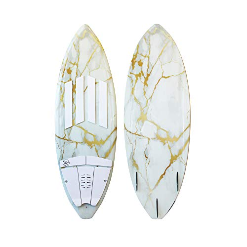 South Bay Board Co. - Wakesurf Boards - 63' Long in White/Gold Marble - Rambler Premium Performance Wake Surfboards - 3-Fin Thruster Setup & Pre-Installed Deck Traction