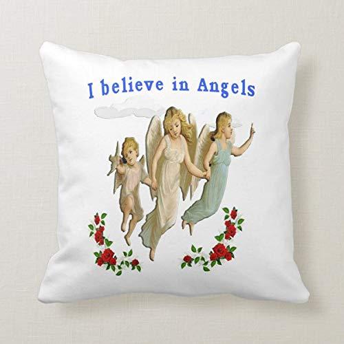 Funda de cojín de 45,7 x 45,7 cm para cama, sofá, oficina, decoración con texto en inglés 'I Believe in Angels'