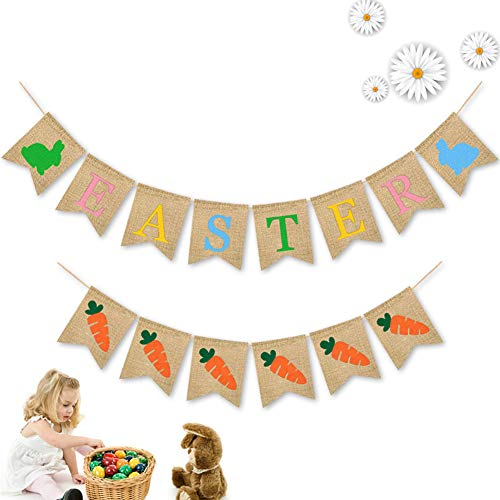 DishyKooker Ostern Banner mit Druck Sackleinen hängenden Wimpel für Baby Shower Party Dekoration einstellen articulos de producto