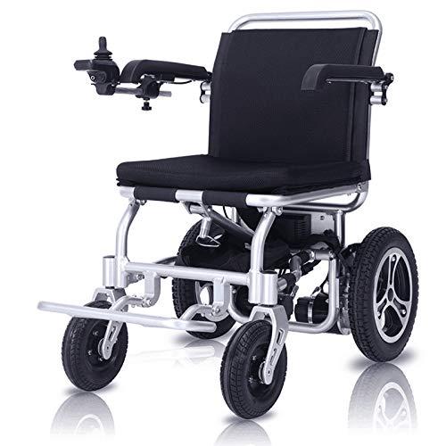 Wheelchair Aleación de Aluminio portátil Silla de Ruedas eléctrica Plegable Viaje Ligero Motorizado Scooter eléctrico, Silla de Ruedas Segura para Viajes de aviación