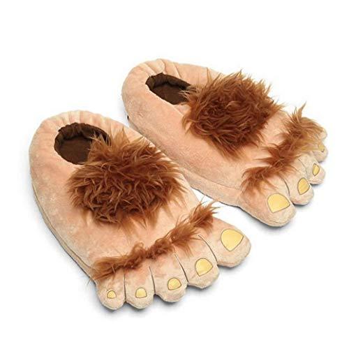 1 Par De Zapatillas De Felpa Monstruo Aventura De La Novedad De Invierno Pies Grandes Zapatillas Creativo Bigfoot Zapatos Calientes Pies Invierno Hobbit Indoor Shoes Para Adultos De Los Niños